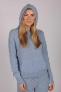 Light Blue 100% Cashmere Hoodie for Women front