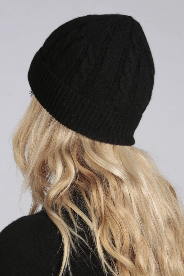 ... Black pure cashmere beanie hat cable and rib knit 3 ... d869aaf8a4f