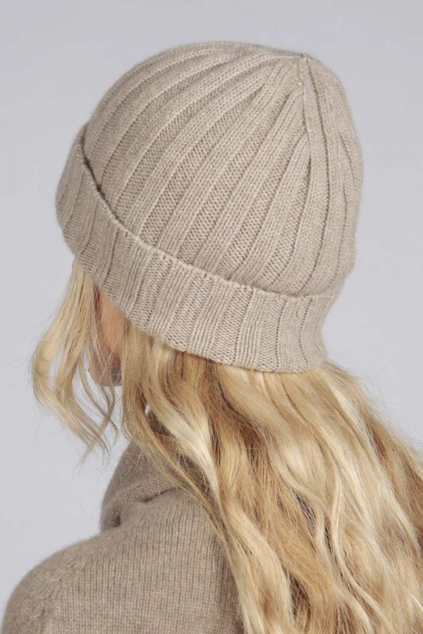 daae8dfce Camel brown beige pure cashmere wide ribbed fisherman beanie hat