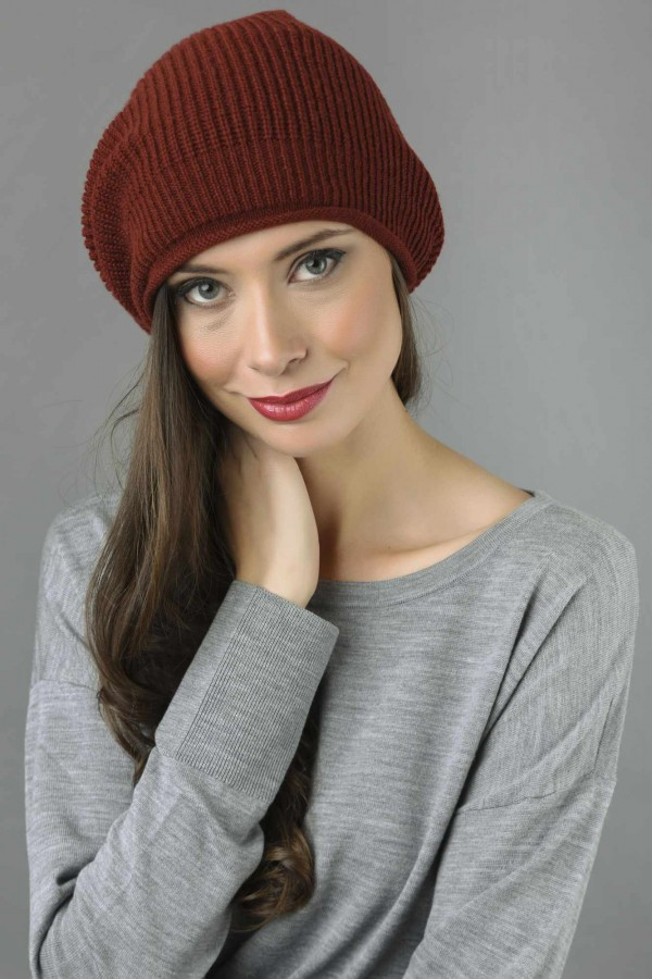 03244c1b4e0 ... Pure Cashmere Ribbed Knitted Slouchy Beanie Hat in Bordeaux 1 ...