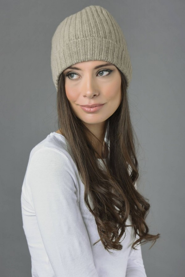 828b9d1a1903 Pure Cashmere Fisherman Ribbed Beanie Hat in Camel Brown | Italy in ...