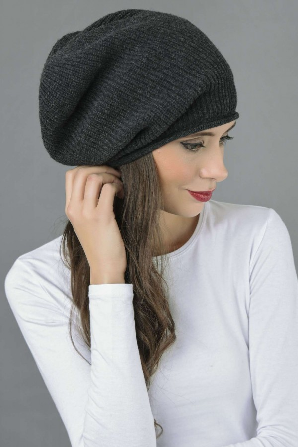 77e73f61e0a ... Pure Cashmere Ribbed Knitted Slouch Beanie Hat in Charcoal Grey 3 ...