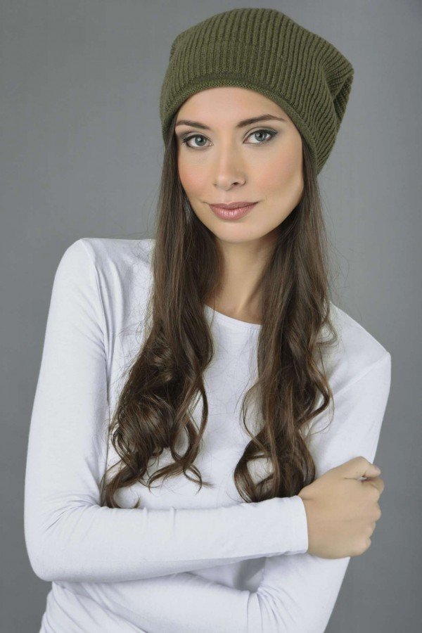 afc04d5c07e ... Pure Cashmere Ribbed Knitted Slouch Beanie Hat in Loden Green 2 ...