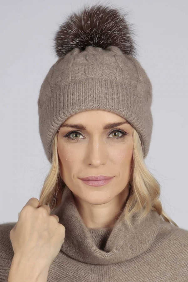 4029affaddd4 ... back; Camel Brown pure cashmere fur pom pom cable knit beanie hat front  ...