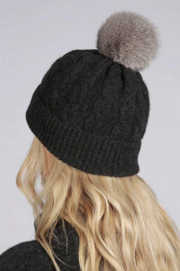 ... Charcoal Grey pure cashmere fur pom pom cable knit beanie hat back ... f09d43f638e