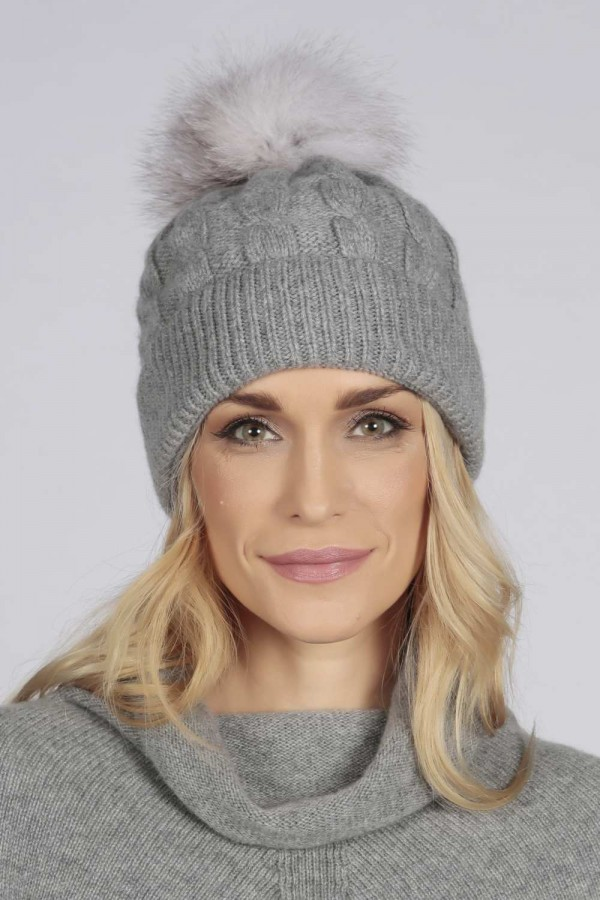 a1124676923 Light Grey pure cashmere fur pom pom cable knit beanie hat