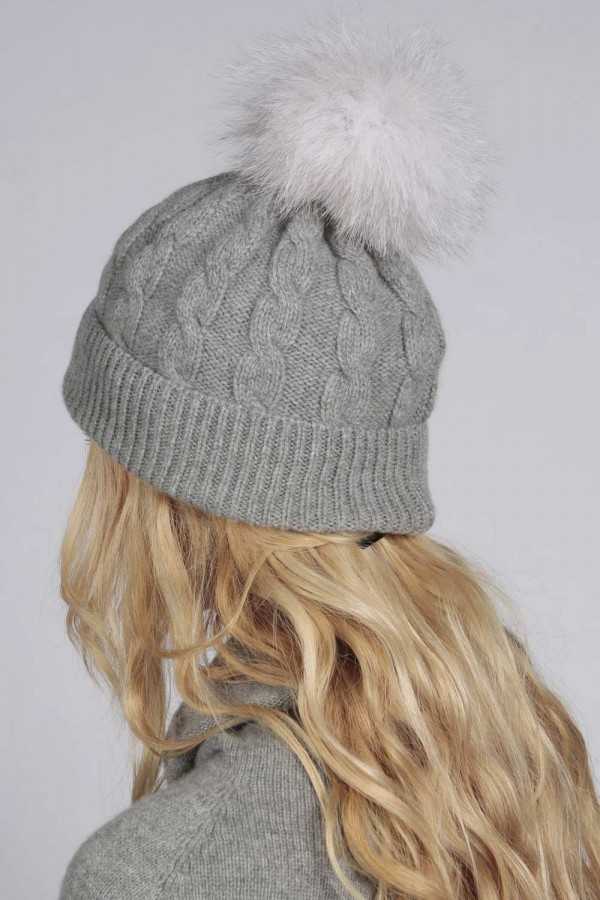 ... Light Grey pure cashmere fur pom pom cable knit beanie hat back ... 44dff2f76cf