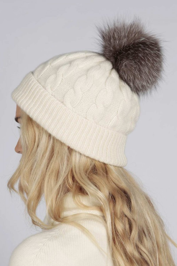 7517c0862beff ... Cream White pure cashmere fur pom pom cable knit beanie hat back ...