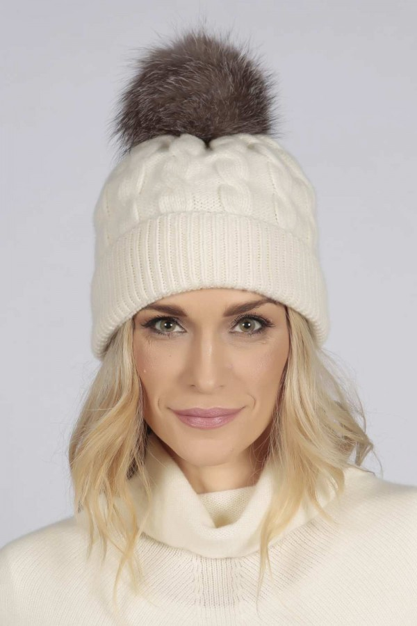 4f13e627b59 ... Cream White pure cashmere fur pom pom cable knit beanie hat front ...