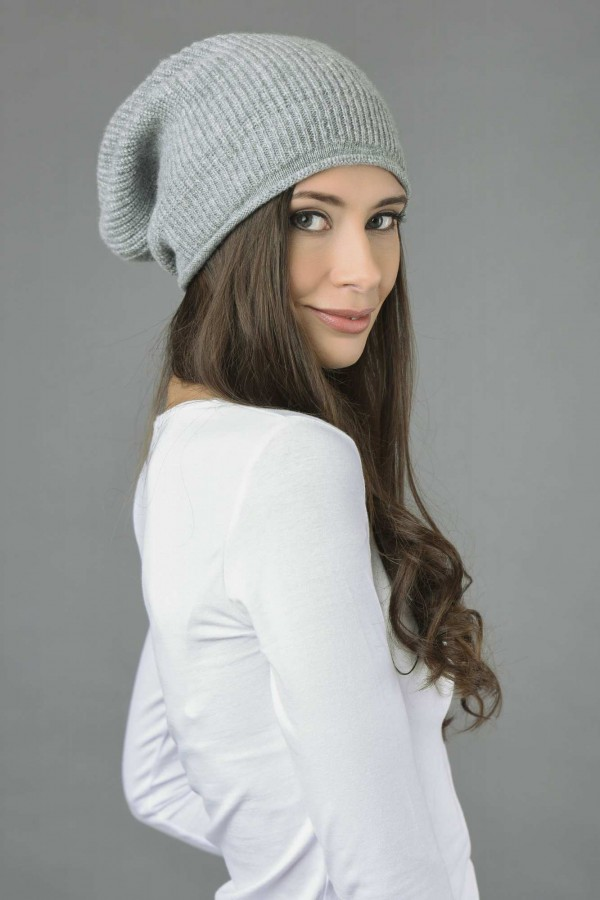 ... Cashmere Ribbed Knitted Slouchy Beanie Hat in Light Grey 2 ... ac0b53ccb9b