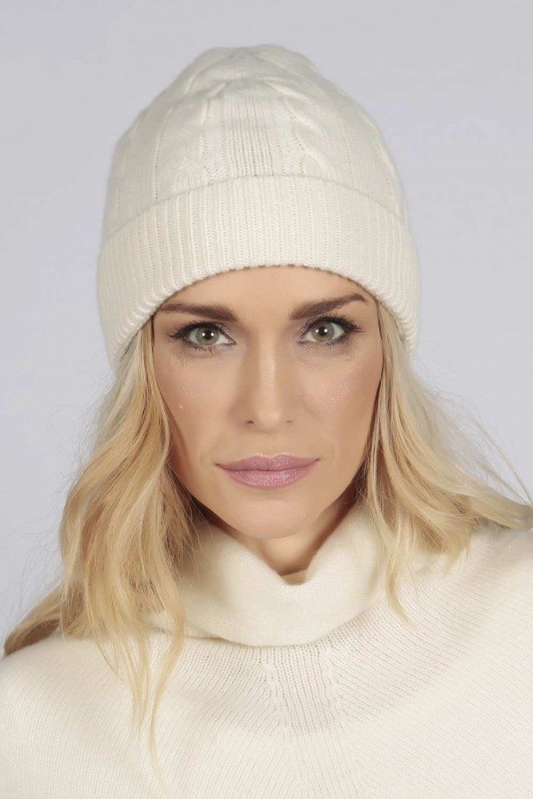 376e3be861d ... Cream white pure cashmere beanie hat cable and rib knit 2 ...