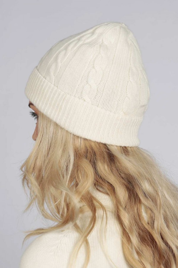 3975b6b4843 ... Cream white pure cashmere beanie hat cable and rib knit 3 ...