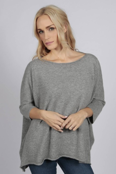 Light Grey pure cashmere short sleeve oversized batwing sweater front