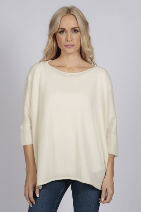 Cream White pure cashmere short sleeve batwing sweater front 2