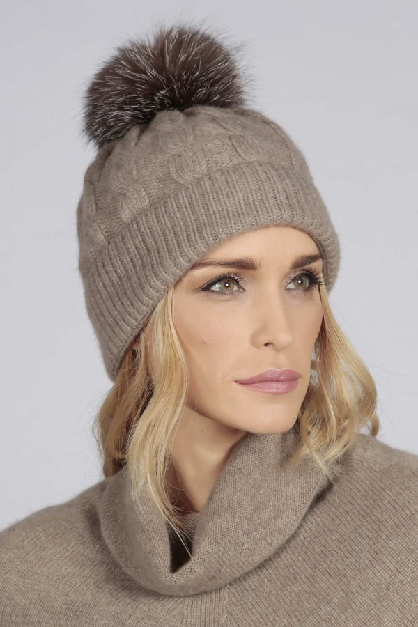 Camel Brown pure cashmere fur pom pom cable knit beanie hat