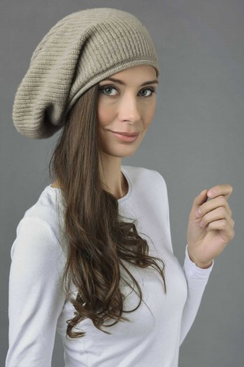 Pure Cashmere Ribbed Knitted Slouchy Beanie Hat in Camel Brown