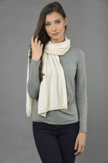 Pure Cashmere Scarf Plain Knitted Stole Wrap in Cream White