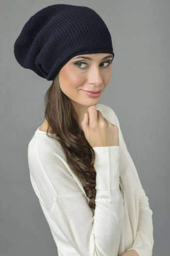 Pure Cashmere Ribbed Knitted Slouchy Beanie Hat in Navy Blue