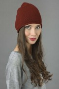 Pure Cashmere Plain Knitted Beanie Hat in Bordeaux 3