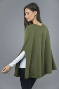 Pure Cashmere Plain Knitted Poncho Cape in Loden Green 3