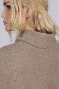 Camel Brown pure cashmere roll neck poncho cape close up