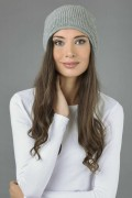 Pure Cashmere Ribbed Knitted Slouchy Beanie Hat in Light Grey 1