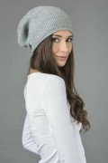 Cashmere Ribbed Knitted Slouchy Beanie Hat in Light Grey 2