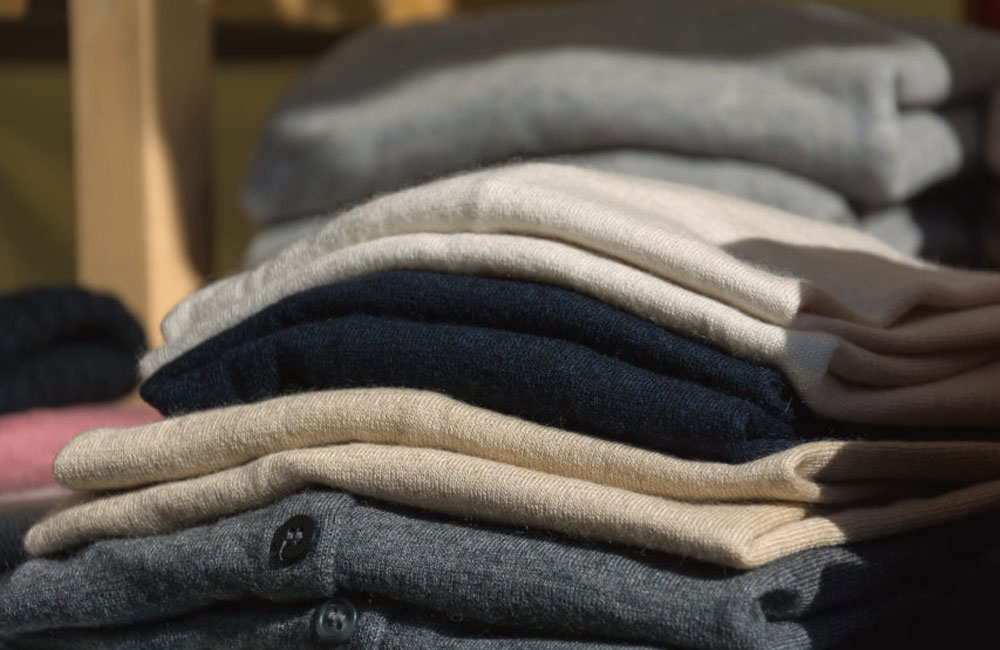 Cashmere jumpers stacked