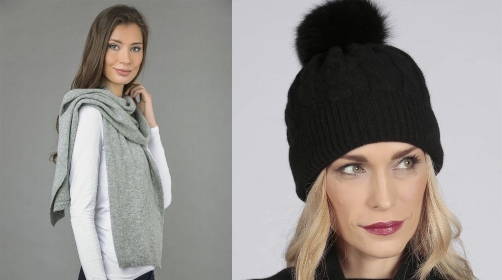 Cashmere scarves and hats made in Italy