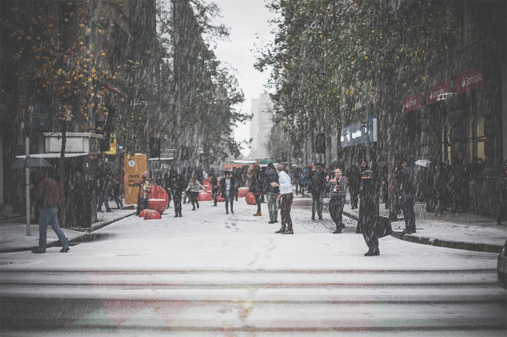 Commuters in the snow