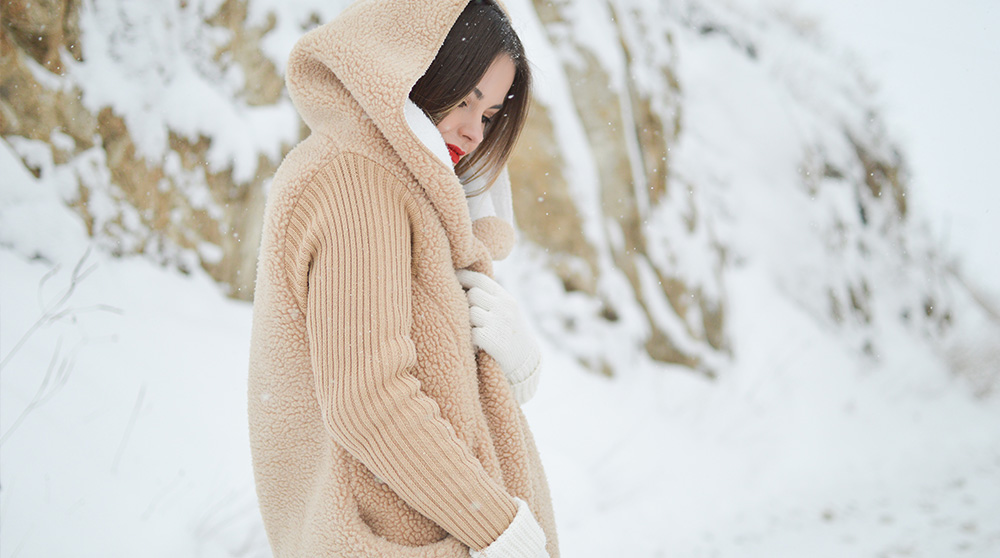 Girl wrapped up warm