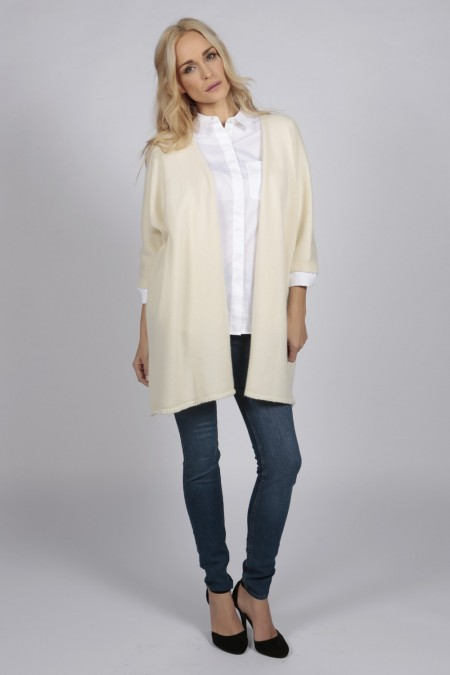 Cream white pure cashmere duster cardigan | Italy in Cashmere USA