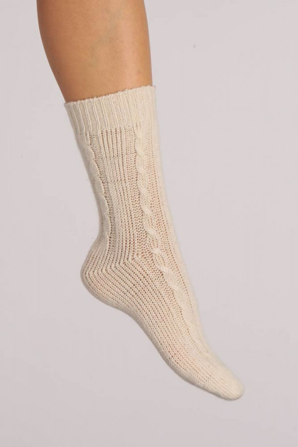 Pure Cashmere Bed Socks in Cream White Cable Knit