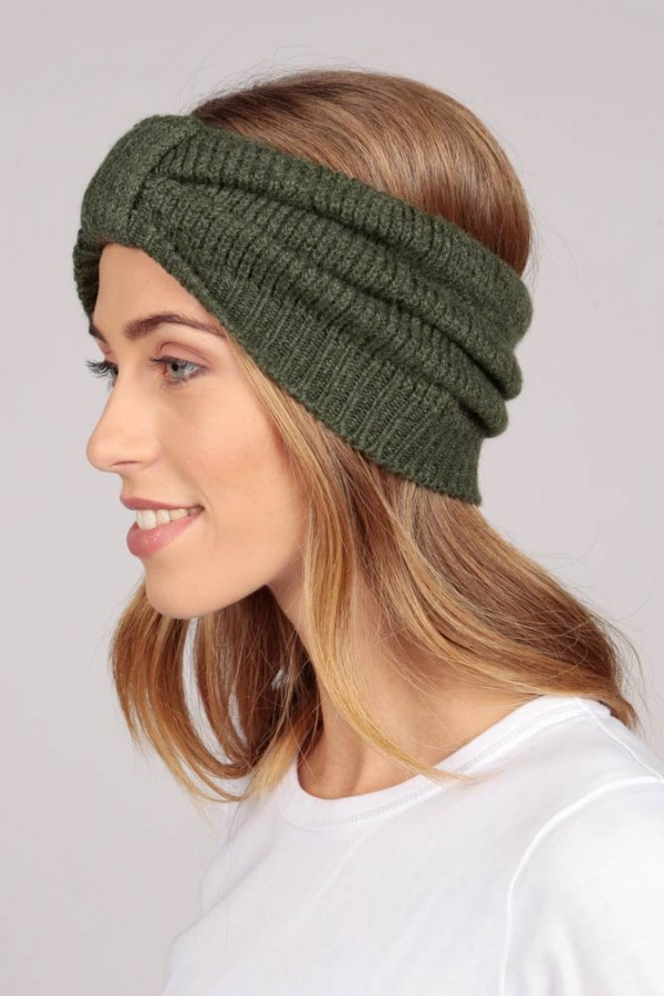 Cashmere headband army green