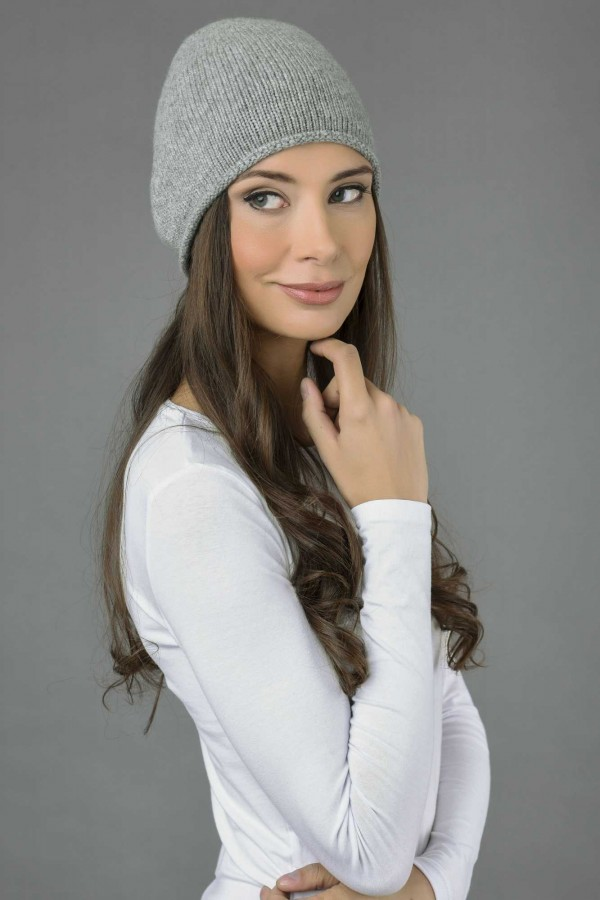 Pure Cashmere Plain Knitted Beanie Hat in Light Grey 1