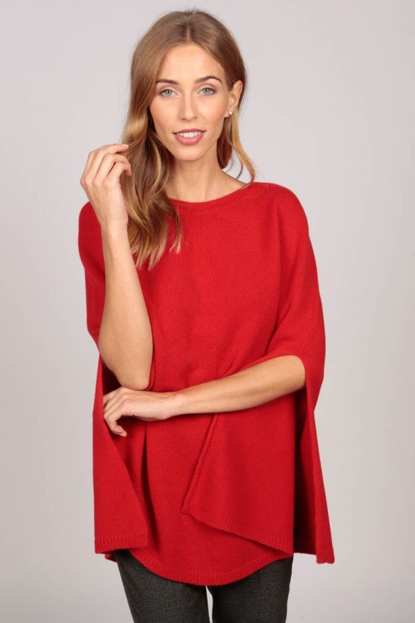 Pure Cashmere Plain Knitted Poncho Cape in Red