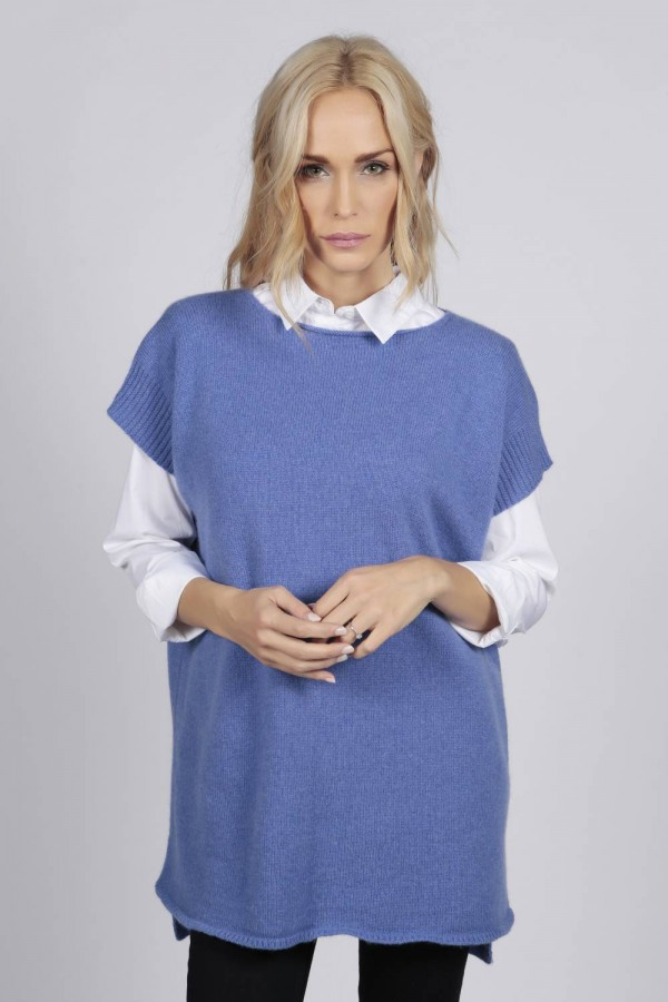 Periwinkle blue women's pure cashmere sleeveless sweater front