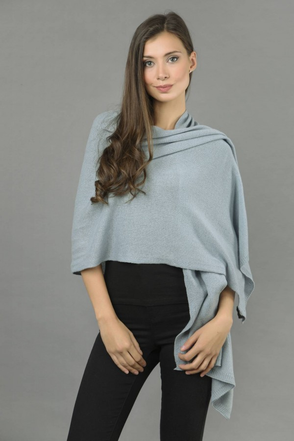 Knitted Pure Cashmere Wrap in Cambridge Blue 1