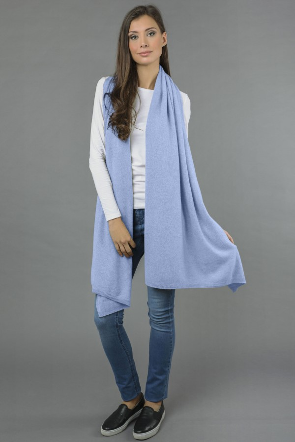 Pure Cashmere Wrap in Light Blue 3