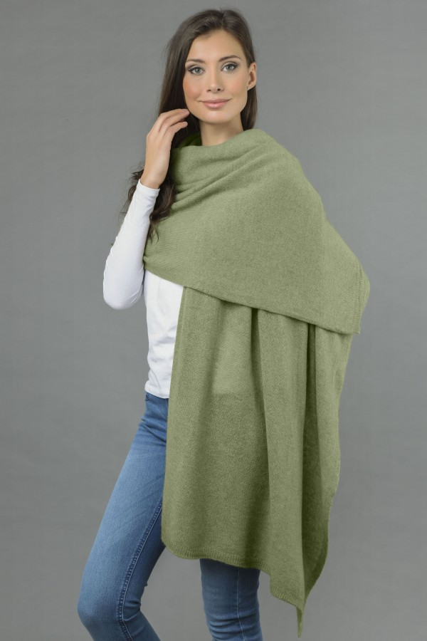 Knitted Pure Cashmere Wrap in Sage Green 1