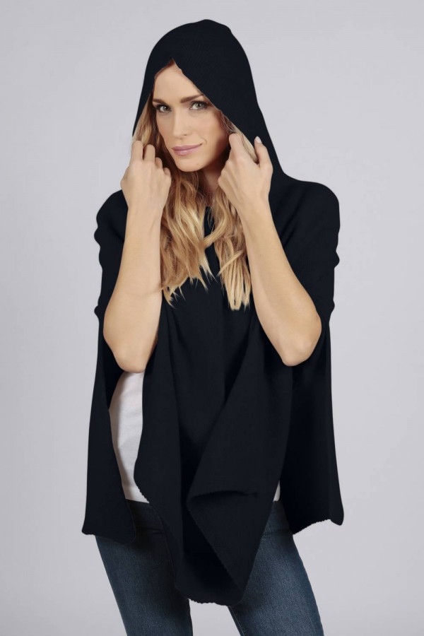 Navy Blue pure cashmere hooded poncho cape