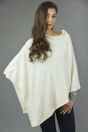 Pure Cashmere Knitted Asymmetric Poncho Wrap in Cream White