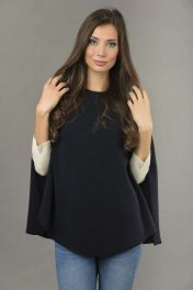 Pure Cashmere Plain Knitted Poncho Cape in Navy Blue