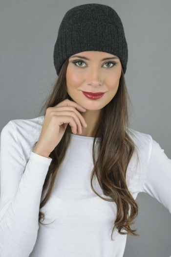 Pure Cashmere Plain and Ribbed Knitted Beanie Hat in Charcoal Grey