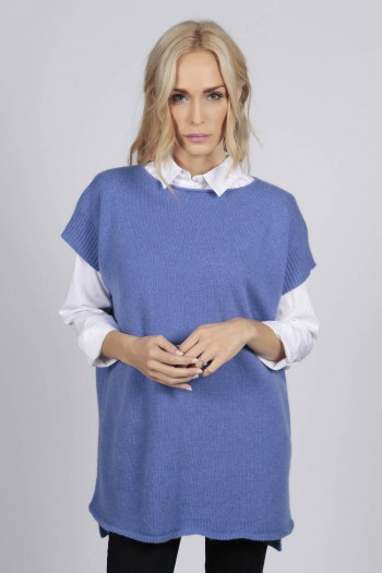 Periwinkle blue women's pure cashmere sleeveless sweater