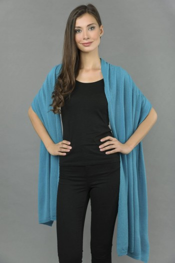 Knitted Pure Cashmere Wrap in Sea Blue