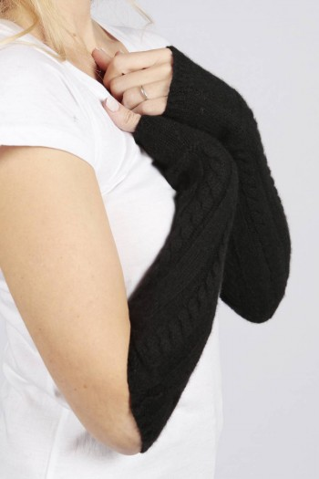 Black pure cashmere cable knit wrist warmers gloves