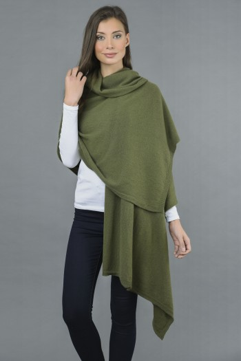 Knitted Pure Cashmere Wrap in Loden Green