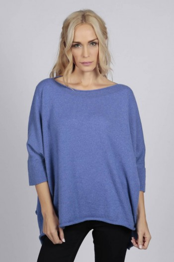 Periwinkle blue pure cashmere short sleeve oversized batwing sweater