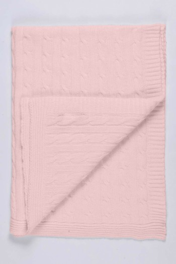 Baby Pink pure cashmere baby blanket cable knit